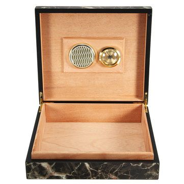 Black Cedar Wooden Storage Case Humidor Box With Humidifier Hygrometer