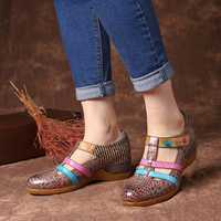 SOCOFY Genuine Leather Hollow out Pattern Hook Loop Sandals