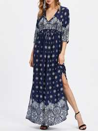 Plus Size Sexy Women V-neck Floral Print Dresses