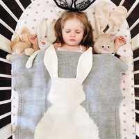 Honana HT-33 Cute Knitted Baby Blankets Infant Rabbit Soft Warm Wool Swaddle Kids Bath Towel Lovely Newborn Bedding Props Baby Blankets