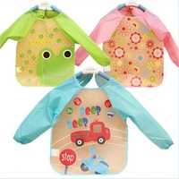 Baby Cute Bib Todder Long Sleeve Chic Art Smock Waterproof Apron Self Feeding Painting Transparent Cartoon