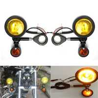 Metal Shell Motorcycle Fog Light and Turn Signal Light 39mm Mount Bracket Amber Yellow