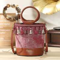 Brenice Tassel Drawstring Canvas Fashion Bucket Bag National Retro Women Shoulder Crossbody Bag