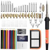76Pcs 60W Solder Iron Wood Burning Kit Adjustable Carving Pyrography Tool Soldering Welding Tip Kit Wood Embossing Burning Set