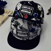 Men Women Floral Print Adjustable Baseball Cap Flat Bill Paisley Hippie Snapback Hip-hop Hats