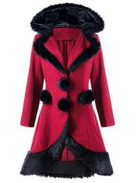 Women Faux Fur Patchwork Hooded Coat