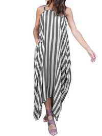 Sexy Women Stripe Off Shoulder Loose Strapless Cotton Dress