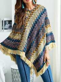 Autumn Winter Patchwork Knit Pullover Tassel Sweater Coat