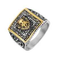 REZEX Vintage Diamond Lion Head Men's Stainless Ring