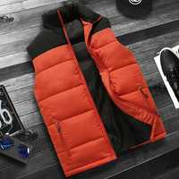 Men Padded Sleeveless Jacket Winter Warm Windproof Down Vest