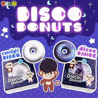 Puni Maru Squishy Shiny Disco Glitter Donuts 9cm Toy Mini Donut Slow Rising With Packing Box