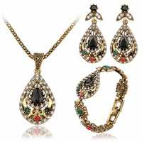 Vintage Water Drop Jewelry Set Hollow Rhinestone Bracelet
