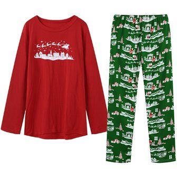 Christmas Snowman Printing Casual Home Pajamas Sleepwear Two piece Suit for Men
