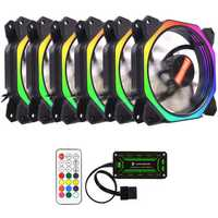 Coolmoon 6PCS 12cm Multilayer Backlit RGB Cooling Fan with IR Controller for Desktop PC