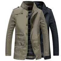 Mens Water Repellent Windproof Stand Collar Jacket Solid Col