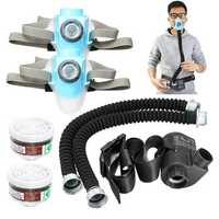 Electric Constant Flow Air Supplied Fed Respirator Half Face Gas Mask + Pump+ 2 Pipe