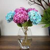 Artificial Hydrangea Silk Fake Flowers Balls Wedding Bouquet with Leaf Bud for Home Weeding Decorations DIY Home Wedding Party Decorative Flowers 6 Colors