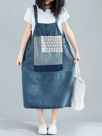 Women Casual Lace Patchwork Straps Denim Dress with Pockets