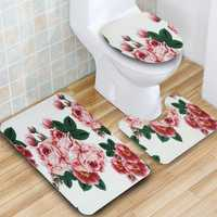 3Pcs Peach Blossom Non-Slip Bathroom Rugs Toilet Seat Covers Cushion Bath Lid Mat