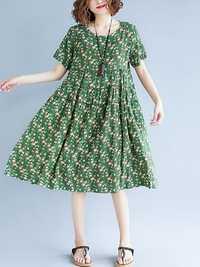 Vintage Short Sleeve Elastic Waist Floral Dress