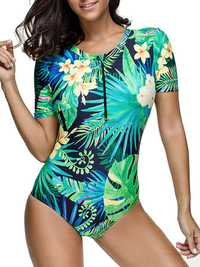 Wireless Printed Cover Belly One Piece Swimsuit