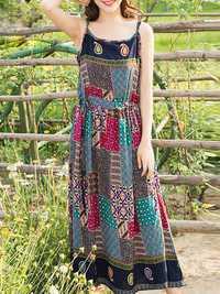 Floral Print Spaghetti Strap High Waist Pleated Dresses