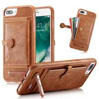 Multifunction Card Slot Bracket PU Leather Shockproof Case for iPhone 8