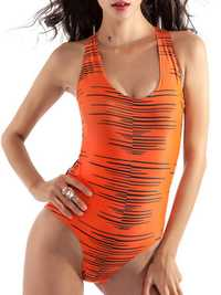 Sexy Striped Triangle Conjoin Back Rope Hollow Out Wireless One-Pieces Swimwear