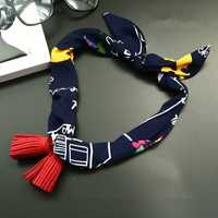 Women Pendants All-Match Small Scarf Chiffon Sat Korean style Tassel Decoration Necklace Scarves
