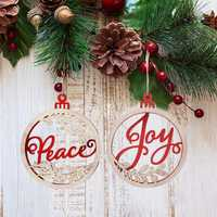Christmas Hanging Wooden Round Ring Deer Snowman Letter Christmas Santa Trees Decorations
