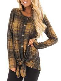 Women Plaid Crew Neck Long Sleeve Button T-shirt Blouse