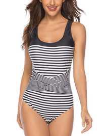 One-Piece Stripe Print Swimwear