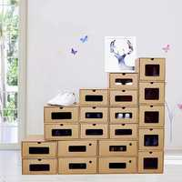 5 Sizes Shoe Storage Paper Boxes Display Organizer Drawer Pull Box Stackable Foldable Cardboard