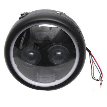 Motorcycle Cafe Racer COB LED Projector Angel Eye Headlights Lamp