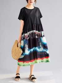 Short Sleeve Stitching Loose Floral Printed Swing Dress