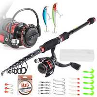 LEO T27772-4 Fishing Tool Carbon Casting Telescopic Fishing Rod Fishing Lure Fishing Reel Combos 4 Pieces