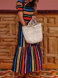 Vintage Short Sleeve High Waist Rainbow Striped Dress