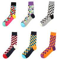 Contrast Color British Style Fashion Plaid Socks Cotton Sweat-discharge Antibacterial Stockings