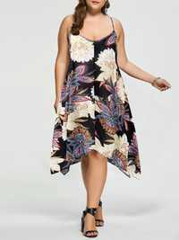 Casual Women Loose Floral Print Irregular Hem Strap Dress