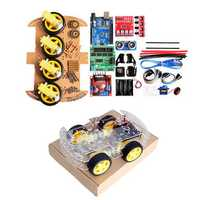 4WD DIY Smart Chassis Car Kit For Arduino with UNO R3 + Ultrasonic Module+Motor drive board/3-6v TT Motor