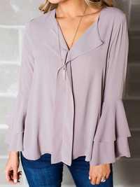 Women Flare Sleeve Ruffled Loose Shirt