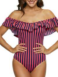 One-Pieces Ruffled Net Red Striped Navy Style Swimwear