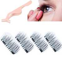 4Pcs/2 Pairs 3D Magnetic False Eyelashes Natural Eyelashes Extension & Tweezer