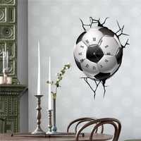 PAG STICKER 3D Wall Clock Decals Soccer Football Cracking Wall Sticker Home Decor Gift