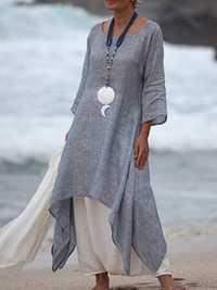 Women 3/4 Sleeve High Low Hem Linen Cotton Dress