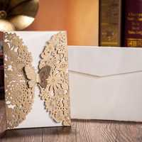 10Pcs Gold Paper Wedding Invitation Envelope Laser Cut Wedding Invitation Cards Birthday Party Card