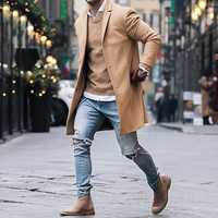 INCERUN Mens Mid-long Length Big Size Trench Coat Jacket