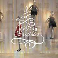 3D Merry Christmas Removable Waterproof PVC Wall Decor Sticker Happy New Year Shop Window Home Decal Glass Wall Window Decor Sticker for Home Festival Party Decorations