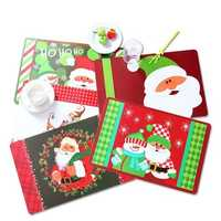 12PCS/Set Christmas Placemat Table Merry Xmas Placemats Coaster Kichen Table Decorations