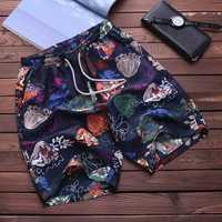 Mens Drawstring Printing Hawaiian Style Beach Board Shorts